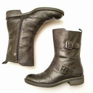 Black Leather Moto Boots by Enzo Angiolini - 8